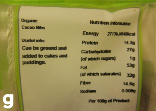 Suma Organic Cacao Nibs Nutrition Information